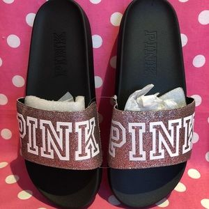 🚫SOLD🚫NWT VS PINK multicolor glitter Slides